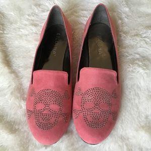 NWOT Pink Skull Stud Loafers